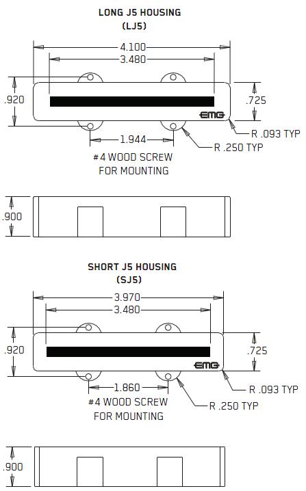 Размеры EMG J5, J5A, J5CS SET