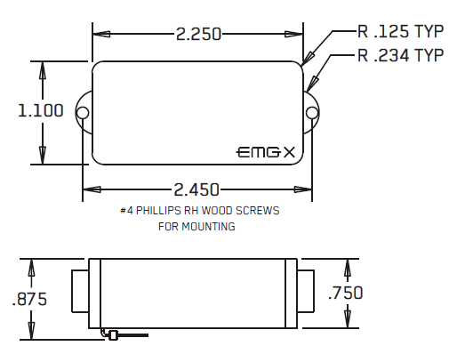Размеры EMG P-X, PA-X, P-CS-X (4-STRING) P5-X (5-STRING) P6-X, P6-CS-X (6-STRING)