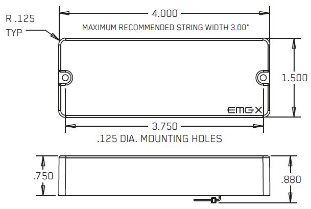 Размеры EMG 40P5X, 40JX, 40JCSX, 40CSX, 40DCX, 40PX, 40PCSX
